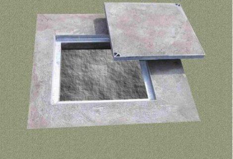 Burkolható aknafedlap 700mm*700mm, AISI304, kiemelhető kivitel